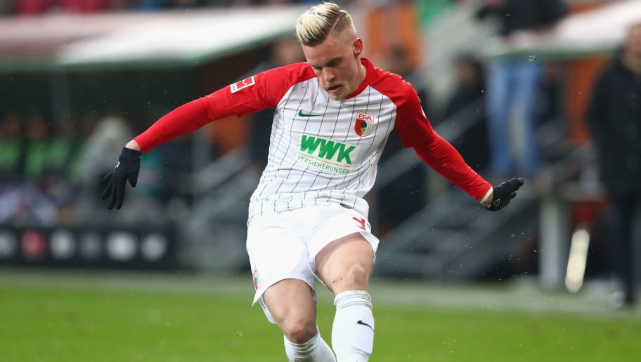 AUGSBURG, GERMANY - DECEMBER 16:  Philipp Max of Augsburg runs with the ball  during the Bundesliga match between FC Augsburg and Sport-Club Freiburg at WWK-Arena on December 16, 2017 in Augsburg, Germany.  (Photo by Alexander Hassenstein/Bongarts/Getty Images)