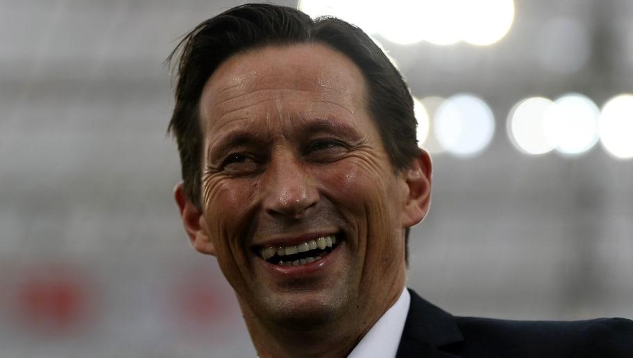 LEVERKUSEN, GERMANY - FEBRUARY 25:  Roger Schmidt, head coach of Leverkusen reacts before the Bundesliga match between Bayer 04 Leverkusen and 1. FSV Mainz 05 at BayArena on February 25, 2017 in Leverkusen, Germany.  (Photo by Maja Hitij/Bongarts/Getty Images)