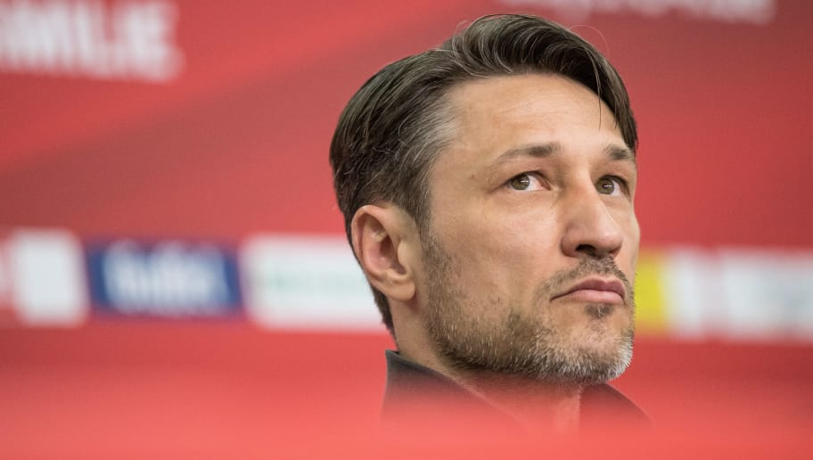 LEVERKUSEN, GERMANY - APRIL 14: Head Coach Niko Kovac of Eintracht Frankfurt looks on during a press conference after the Bundesliga match between Bayer 04 Leverkusen and Eintracht Frankfurt at BayArena on April 14, 2018 in Leverkusen, Germany. (Photo by Maja Hitij/Bongarts/Getty Images)