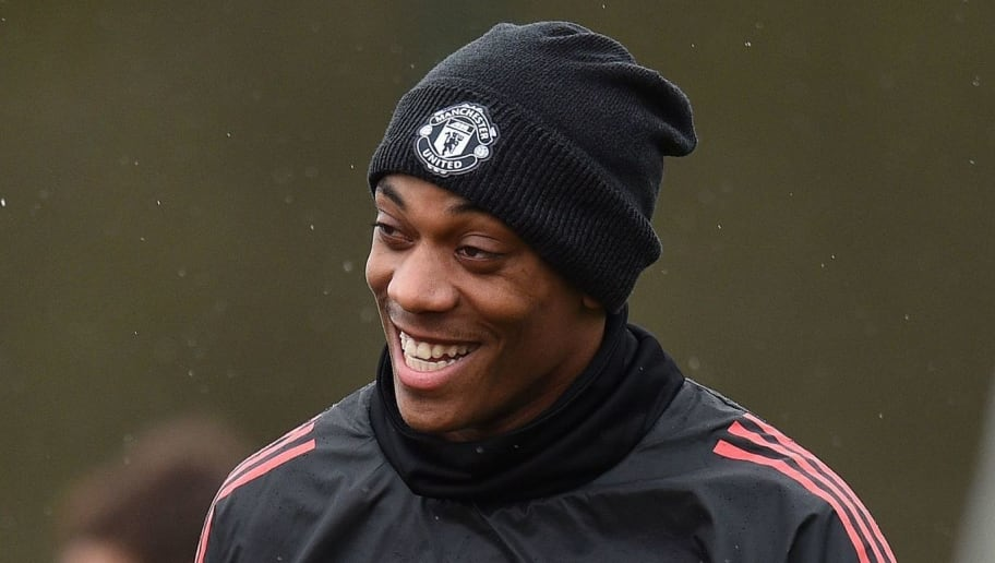 Manchester United's French striker Anthony Martial attends a team training session at the club's training complex near Carrington, west of Manchester in north west England on March 12, 2018, on the eve of their UEFA Champions League round of 16 second-leg football match against Sevilla. / AFP PHOTO / Oli SCARFF        (Photo credit should read OLI SCARFF/AFP/Getty Images)
