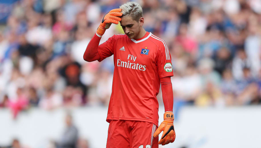 SINSHEIM, GERMANY - APRIL 14: Goalkeeper Julian Pollersbeck of Hamburg looks dejected during the Bundesliga match between TSG 1899 Hoffenheim and Hamburger SV at Wirsol Rhein-Neckar-Arena on April 14, 2018 in Sinsheim, Germany. (Photo by Simon Hofmann/Bongarts/Getty Images)