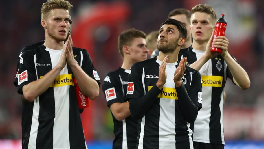 MUNICH, GERMANY - APRIL 14: Players of Moenchengladbach look dejected after the Bundesliga match between FC Bayern Muenchen and Borussia Moenchengladbach at Allianz Arena on April 14, 2018 in Munich, Germany. (Photo by Martin Rose/Bongarts/Getty Images)