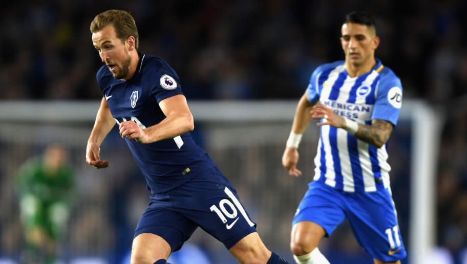 BRIGHTON, ENGLAND - APRIL 17:  Harry Kane of Tottenham Hotspur in action during the Premier League match between Brighton and Hove Albion and Tottenham Hotspur at Amex Stadium on April 17, 2018 in Brighton, England.  (Photo by Mike Hewitt/Getty Images)
