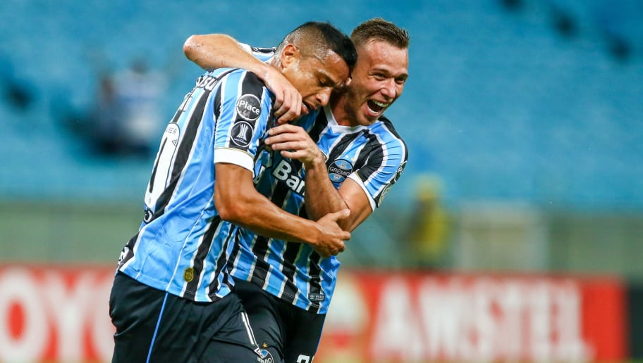 PORTO ALEGRE, BRAZIL - April 04: Cicero of Gremio celebrates their forth goal during the match between Gremio and Monagas, part of Copa Libertadores 2018, at Arena do Gremio on April 04, 2018, in Porto Alegre, Brazil. (Photo by Lucas Uebel/Getty Images)
