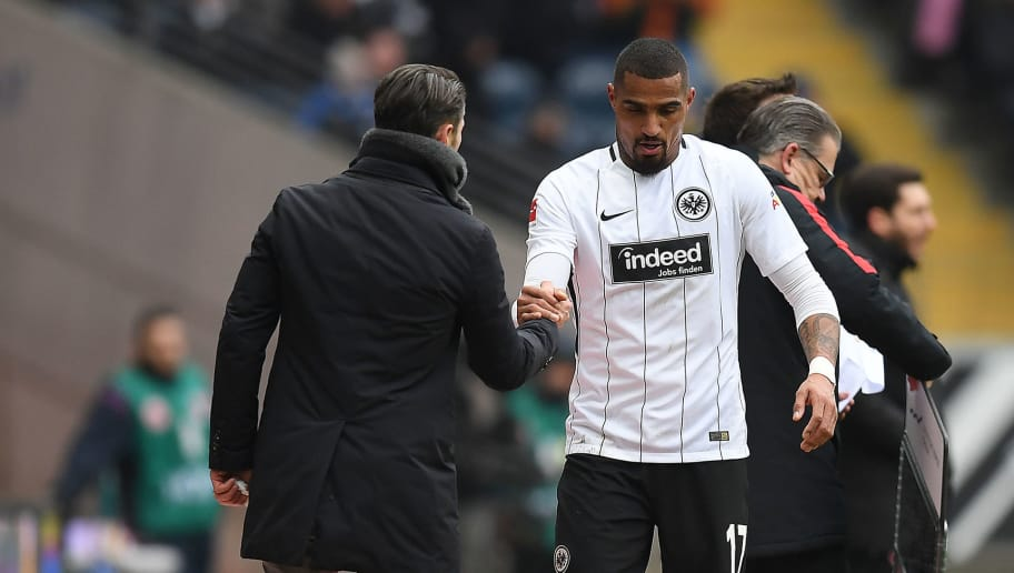 FRANKFURT AM MAIN, GERMANY - MARCH 17: Kevin Prince-Boateng of Frankfurt shakes hands with coach Niko Kovac of Frankfurt (l) as he is substituted during the Bundesliga match between Eintracht Frankfurt and 1. FSV Mainz 05 at Commerzbank-Arena on March 17, 2018 in Frankfurt am Main, Germany. (Photo by Matthias Hangst/Bongarts/Getty Images)