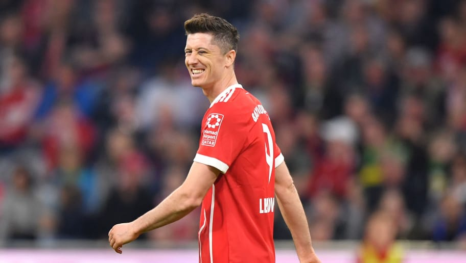MUNICH, GERMANY - APRIL 14: Robert Lewandowski of Bayern Muenchen reacts during the Bundesliga match between FC Bayern Muenchen and Borussia Moenchengladbach at Allianz Arena on April 14, 2018 in Munich, Germany. (Photo by Sebastian Widmann/Bongarts/Getty Images,)