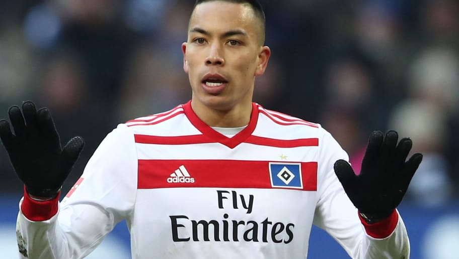 HAMBURG, GERMANY - MARCH 17: Bobby Wood of Hamburg appears frustrated during the Bundesliga match between Hamburger SV and Hertha BSC at Volksparkstadion on March 17, 2018 in Hamburg, Germany.  (Photo by Oliver Hardt/Bongarts/Getty Images)