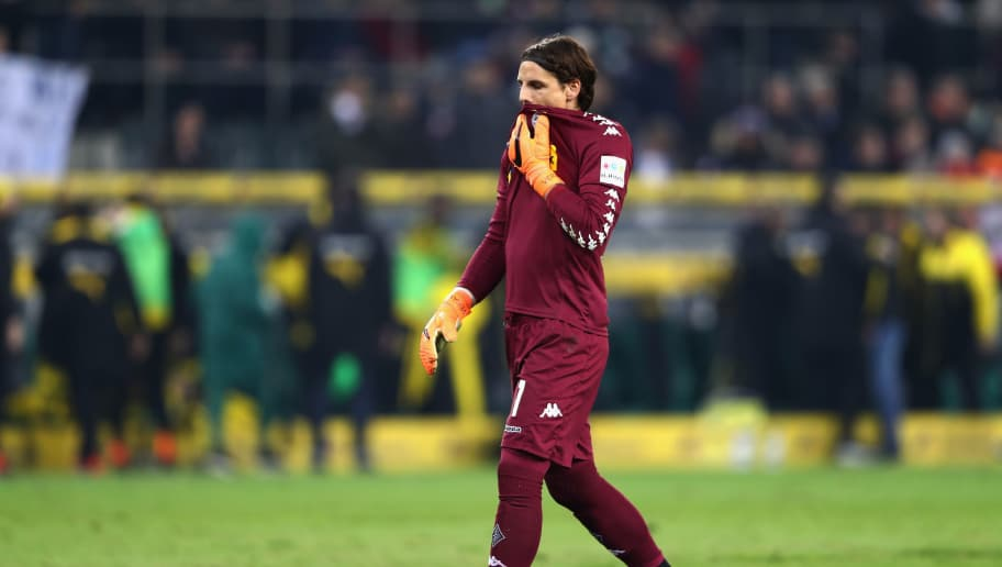 MOENCHENGLADBACH, GERMANY - FEBRUARY 18:  Goalkeeper Yann Sommer of Moenchengladbach reacts after the Bundesliga match between Borussia Moenchengladbach and Borussia Dortmund at Borussia-Park on February 18, 2018 in Moenchengladbach, Germany.  (Photo by Alex Grimm/Bongarts/Getty Images)