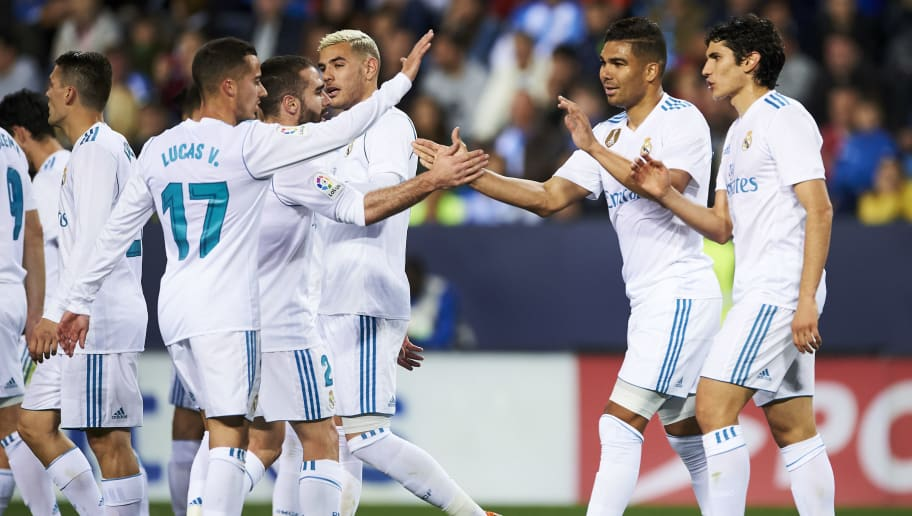 MALAGA, SPAIN - APRIL 15:  Casemiro of Real Madrid celebrates after scoring his team's second goal during the La Liga match between Malaga CF and Real Madrid CF at Estadio La Rosaleda on April 15, 2018 in Malaga, Spain.  (Photo by Aitor Alcalde/Getty Images)