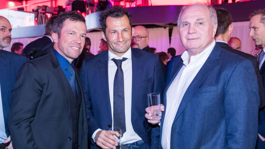 FRANKFURT AM MAIN, GERMANY - JANUARY 16: (L-R) Lothar Matthaeus, Hasan Salihamidzic and Uli Hoeness attend the 2018 DFL New Year Reception at Thurn & Taxis Palais on January 16, 2018 in Frankfurt am Main, Germany. (Photo by Simon Hofmann/Bongarts/Getty Images)