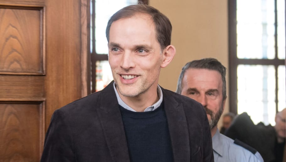 Former Borussia Dortmund head coach Thomas Tuchel leaves after a hearing as a witness in the trial on a bomb attack on the team bus of German first division football club Borussia Dortmund in April 2017, at the district courthouse in Dortmund, western Germany, on March 19, 2018.  A German-Russian man admitted in January to carrying out a bomb attack on the Borussia Dortmund football team's bus in an elaborate bid to make a fortune on the stock market. The triple blast on April 11, 2017 shattered the team bus's windows and left a player with a broken wrist, while a police officer suffered inner ear damage. Several players, who had witnessed the attack, were heard in the trial on March 19. / AFP PHOTO / dpa / Bernd Thissen / Germany OUT        (Photo credit should read BERND THISSEN/AFP/Getty Images)