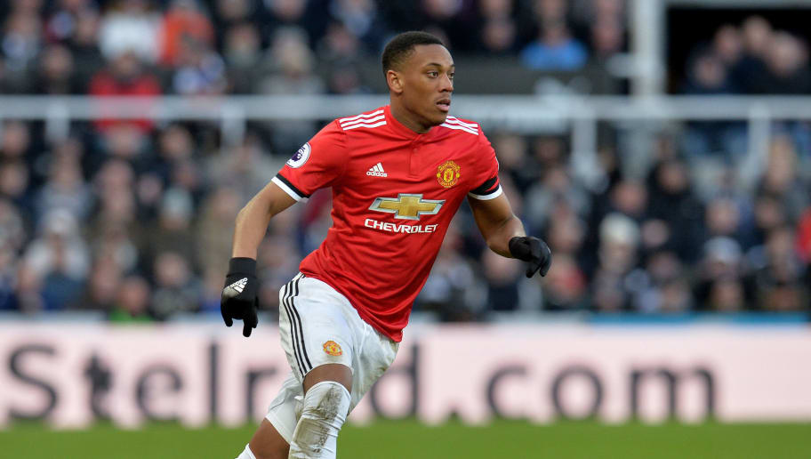 NEWCASTLE UPON TYNE, ENGLAND - FEBRUARY 11: Anthony Martial of Manchester United in action during the Premier League match between Newcastle United and Manchester United at St. James Park on February 10, 2018 in Newcastle upon Tyne, England. (Photo by Mark Runnacles/Getty Images)
