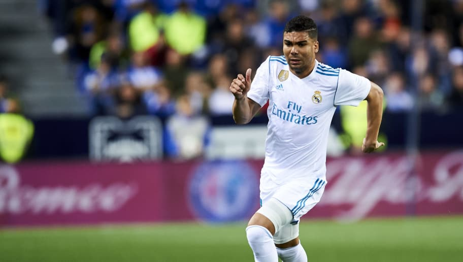 MALAGA, SPAIN - APRIL 15:  Casemiro of Real Madrid controls the ball during the La Liga match between Malaga CF and Real Madrid CF at Estadio La Rosaleda on April 15, 2018 in Malaga, Spain.  (Photo by Aitor Alcalde/Getty Images)