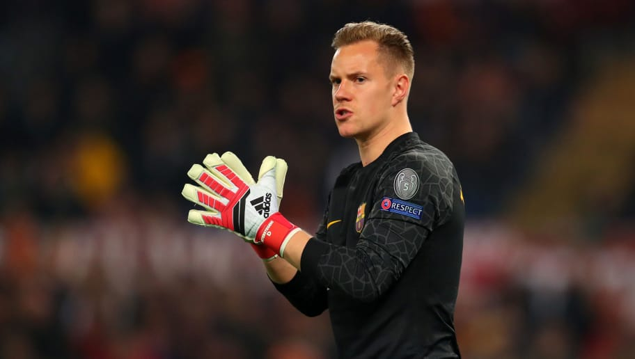 ROME, ITALY - APRIL 10: Marc-Andre Ter Stegen of FC Barcelona during the UEFA Champions League Quarter Final Leg Two between AS Roma and FC Barcelona  at Stadio Olimpico on April 10, 2018 in Rome, Italy. (Photo by Catherine Ivill/Getty Images)