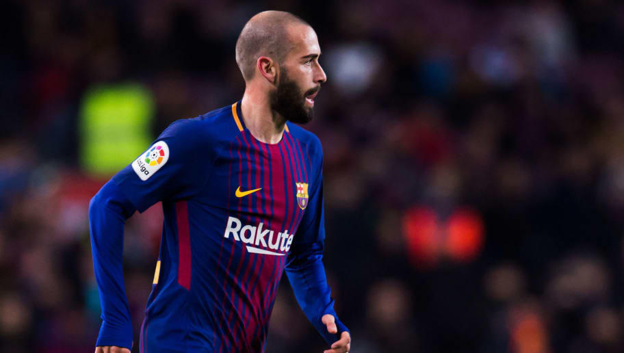 BARCELONA, SPAIN - FEBRUARY 01:  Aleix Vidal of FC Barcelona conducts the ball during the Copa del Rey semi-final first leg match between FC Barcelona and Valencia CF at Camp Nou on February 1, 2018 in Barcelona, Spain.  (Photo by Alex Caparros/Getty Images)