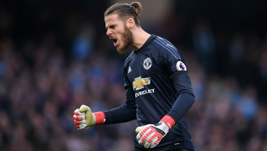 MANCHESTER, ENGLAND - APRIL 07:  David De Gea of Manchester United celebrates after his sides third goal during the Premier League match between Manchester City and Manchester United at Etihad Stadium on April 7, 2018 in Manchester, England.  (Photo by Laurence Griffiths/Getty Images)