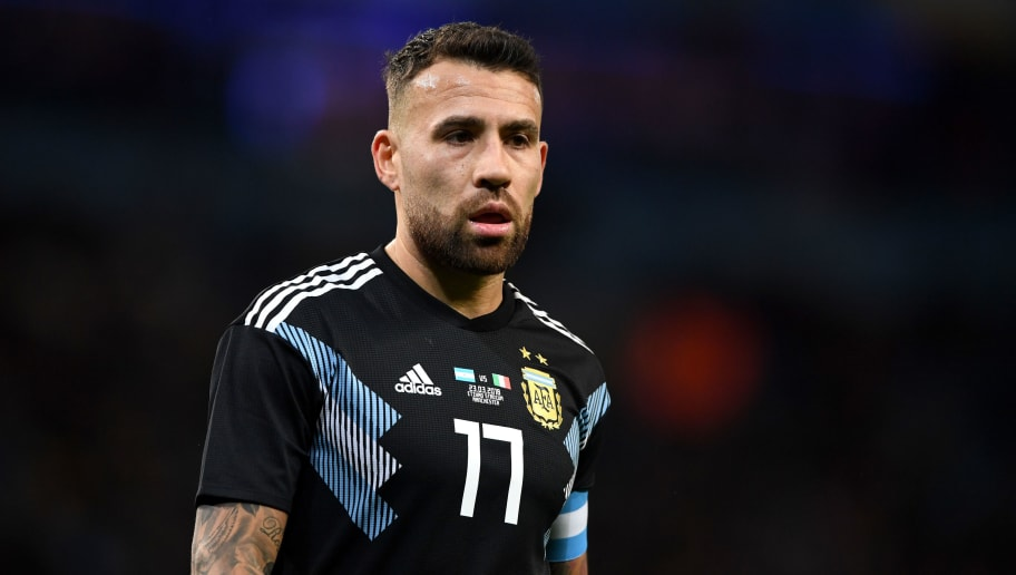 MANCHESTER, ENGLAND - MARCH 23:  Nicolas Otamendi of Argentina during the International Friendly between Argentina and Italy at Etihad Stadium on March 23, 2018 in Manchester, England.  (Photo by Gareth Copley/Getty Images)