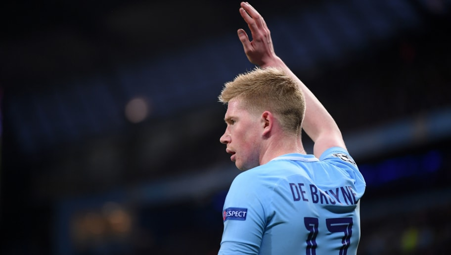 MANCHESTER, ENGLAND - APRIL 10:  Kevin De Bruyne of Manchester City looks on during the Quarter Final Second Leg match between Manchester City and Liverpool at Etihad Stadium on April 10, 2018 in Manchester, England.  (Photo by Laurence Griffiths/Getty Images,)