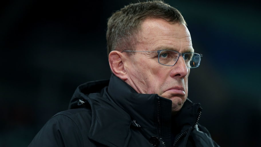 LEIPZIG, GERMANY - MARCH 08: Sporting director Ralf Rangnick of RB Leipzig reacts during the UEFA Europa League Round of 16 match between RB Leipzig and Zenit St Petersburg at the Red Bull Arena on March 8, 2018 in Leipzig, Germany. (Photo by Ronny Hartmann/Bongarts/Getty Images)