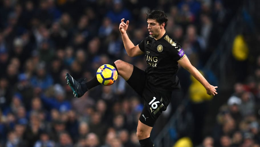 Leicester City's Austrian defender Aleksandar Dragovic controls the ball during the English Premier League football match between Manchester City and Leicester City at the Etihad Stadium in Manchester, north west England, on February 10, 2018. / AFP PHOTO / Paul ELLIS / RESTRICTED TO EDITORIAL USE. No use with unauthorized audio, video, data, fixture lists, club/league logos or 'live' services. Online in-match use limited to 75 images, no video emulation. No use in betting, games or single club/league/player publications.  /         (Photo credit should read PAUL ELLIS/AFP/Getty Images)