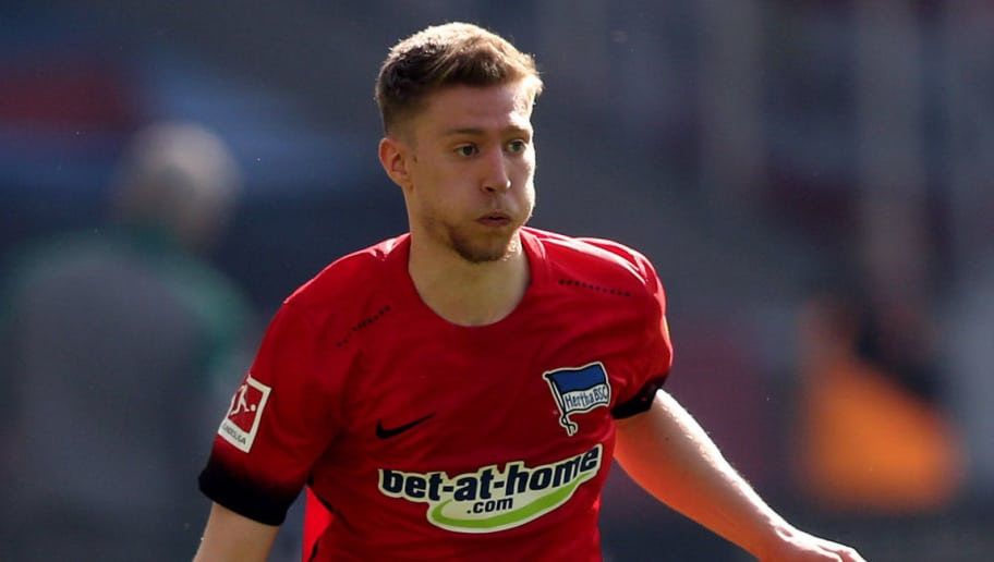 MOENCHENGLADBACH, GERMANY - APRIL 07: Mitchell Weiser of Berlin runs with the ball during the Bundesliga match between Borussia Moenchengladbach and Hertha BSC at Borussia-Park on April 7, 2018 in Moenchengladbach, Germany. The match between Moenchengladbach and Berlin ended 2-1. (Photo by Christof Koepsel/Bongarts/Getty Images)