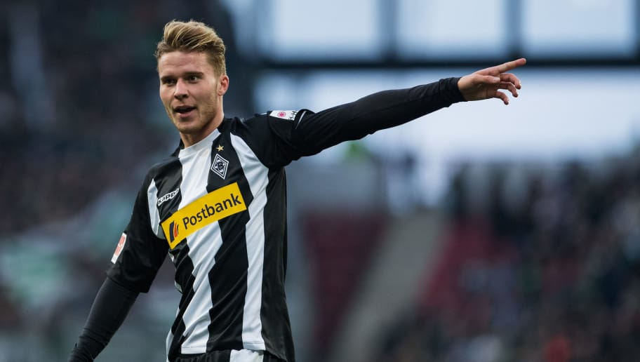 MAINZ, GERMANY - APRIL 01: Nico Elvedi of Moenchengladbach gestures during the Bundesliga match between 1. FSV Mainz 05 and Borussia Moenchengladbach at Opel Arena on April 1, 2018 in Mainz, Germany. (Photo by Simon Hofmann/Bongarts/Getty Images)