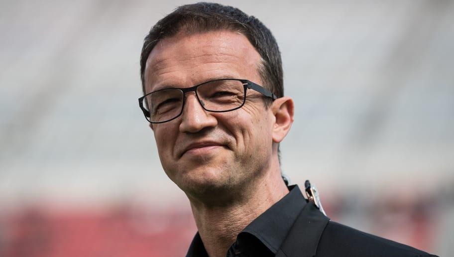 LEVERKUSEN, GERMANY - APRIL 14: Fredi Bobic sporting director of Eintracht Frankfurt looks on prior the Bundesliga match between Bayer 04 Leverkusen and Eintracht Frankfurt at BayArena on April 14, 2018 in Leverkusen, Germany. (Photo by Maja Hitij/Bongarts/Getty Images)
