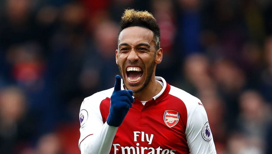 LONDON, ENGLAND - APRIL 08:  Pierre-Emerick Aubameyang of Arsenal celebrates scoring the first goal during the Premier League match between Arsenal and Southampton at Emirates Stadium on April 8, 2018 in London, England.  (Photo by Julian Finney/Getty Images)