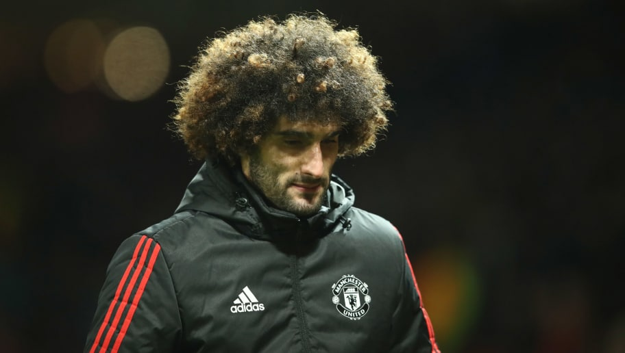 MANCHESTER, ENGLAND - MARCH 13:  Marouane Fellaini of Manchester United looks dejected in defeat after the UEFA Champions League Round of 16 Second Leg match between Manchester United and Sevilla FC at Old Trafford on March 13, 2018 in Manchester, United Kingdom.  (Photo by Clive Mason/Getty Images)