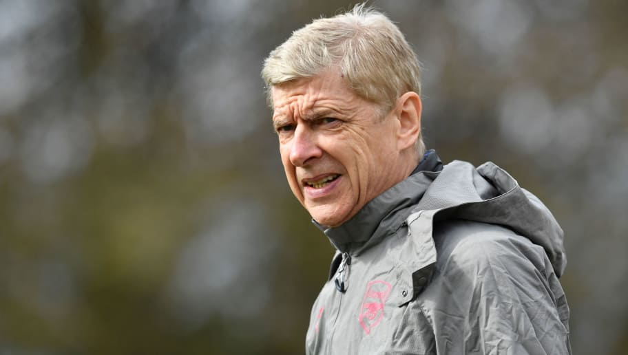 Arsenal's French manager Arsene Wenger attends a training session on the eve of their UEFA Europa League first leg quarter-final football match against CSKA Moscow at Arsenal's London Colney training ground on April 4, 2018.  / AFP PHOTO / Ben STANSALL / The erroneous mention[s] appearing in the metadata of this photo by Ben STANSALL has been modified in AFP systems in the following manner: [UEFA Europa League first leg quarter-final] instead of [UEFA Champions League first leg semi-final]. Please immediately remove the erroneous mention[s] from all your online services and delete it (them) from your servers. If you have been authorized by AFP to distribute it (them) to third parties, please ensure that the same actions are carried out by them. Failure to promptly comply with these instructions will entail liability on your part for any continued or post notification usage. Therefore we thank you very much for all your attention and prompt action. We are sorry for the inconvenience this notification may cause and remain at your disposal for any further information you may require.        (Photo credit should read BEN STANSALL/AFP/Getty Images)