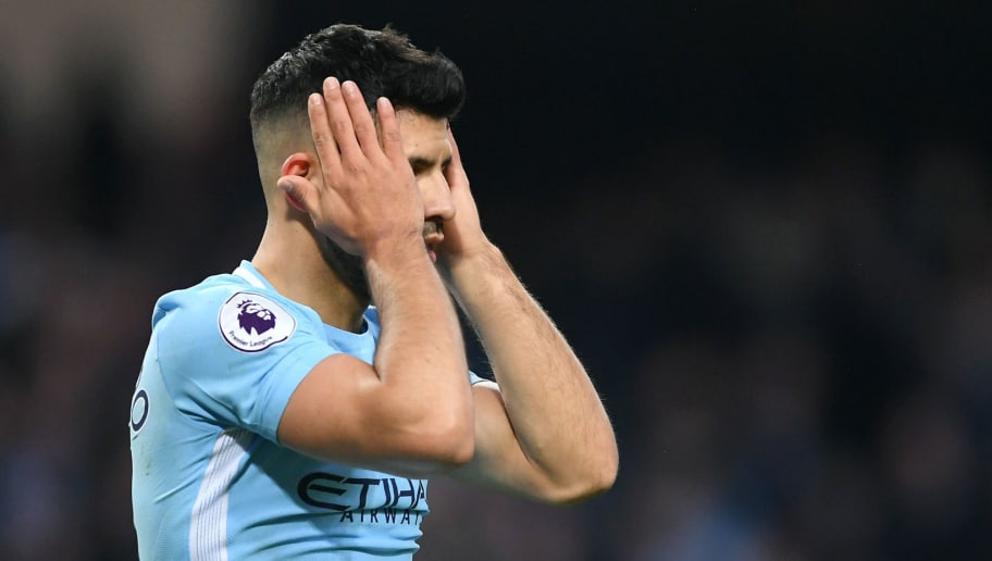 MANCHESTER, ENGLAND - APRIL 07:  Sergio Aguero of Manchester City reacts during the Premier League match between Manchester City and Manchester United at Etihad Stadium on April 7, 2018 in Manchester, England.  (Photo by Laurence Griffiths/Getty Images)