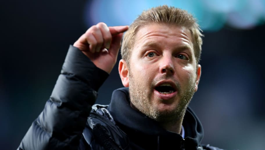BREMEN, GERMANY - APRIL 15:  Florian Kohfeldt, head coach of Bremen reacts after the Bundesliga match between SV Werder Bremen and RB Leipzig at Weserstadion on April 15, 2018 in Bremen, Germany.  (Photo by Stuart Franklin/Bongarts/Getty Images)