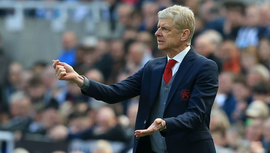 Arsenal's French manager Arsene Wenger gestures on the touchline during the English Premier League football match between Newcastle United and Arsenal at St James' Park in Newcastle-upon-Tyne, north east England on April 15, 2018. / AFP PHOTO / Lindsey PARNABY / RESTRICTED TO EDITORIAL USE. No use with unauthorized audio, video, data, fixture lists, club/league logos or 'live' services. Online in-match use limited to 75 images, no video emulation. No use in betting, games or single club/league/player publications.  /         (Photo credit should read LINDSEY PARNABY/AFP/Getty Images)