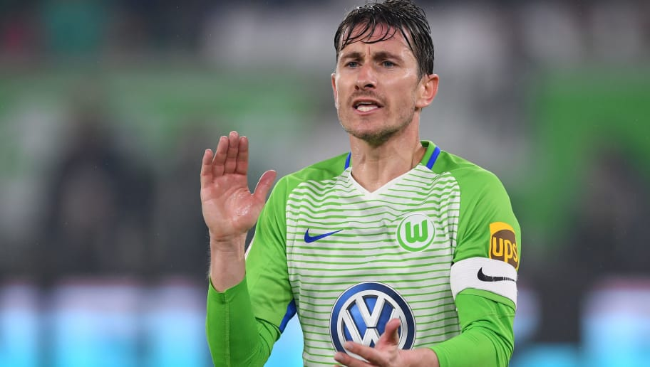 WOLFSBURG, GERMANY - APRIL 13:  Paul Verhaegh of Wolfsburg gestures during the Bundesliga match between VfL Wolfsburg and FC Augsburg at Volkswagen Arena on April 13, 2018 in Wolfsburg, Germany.  (Photo by Stuart Franklin/Bongarts/Getty Images)