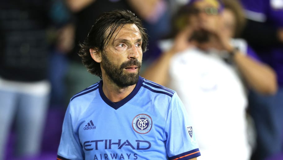ORLANDO, FL - MARCH 05:  Andrea Pirlo #21 of New York City FC prepares for a corner kick during a MLS soccer match between New York City FC and Orlando City SC at the Orlando City Stadium on March 5, 2017 in Orlando, Florida. (Photo by Alex Menendez/Getty Images)