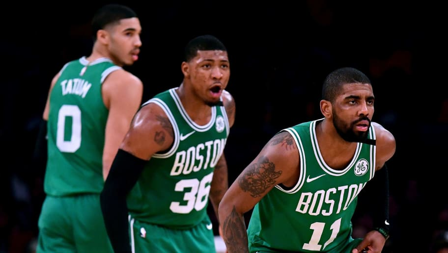 LOS ANGELES, CA - JANUARY 23:  Kyrie Irving #11, Marcus Smart #36 and Jayson Tatum #0 of the Boston Celtics get back on defense after during a 108-107 Los Angeles Lakers win at Staples Center on January 23, 2018 in Los Angeles, California.  (Photo by Harry How/Getty Images)