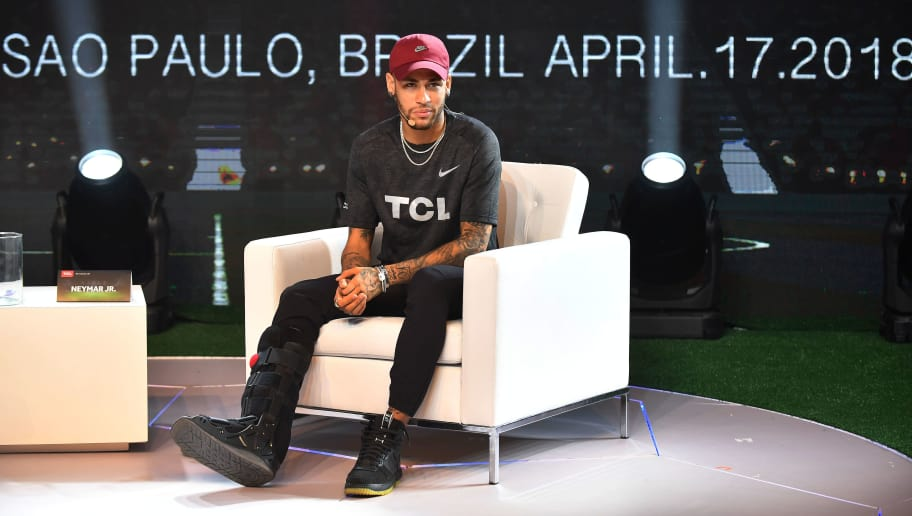 bf4e511db2 TOPSHOT - Brazilian PSG s footballer Neymar Junior takes part in a promotional  event of the Chinese