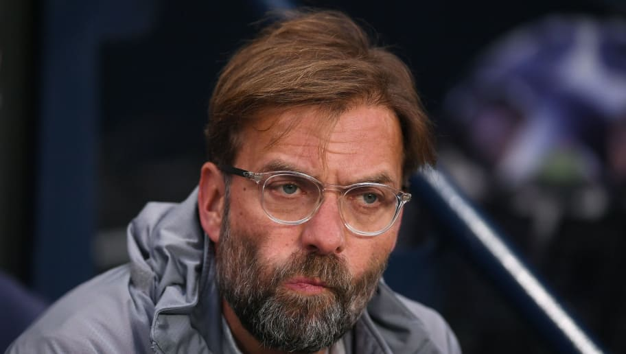 MANCHESTER, ENGLAND - APRIL 10:  Jurgen Klopp, Manager of Liverpool looks on prior to the UEFA Champions League Quarter Final Second Leg match between Manchester City and Liverpool at Etihad Stadium on April 10, 2018 in Manchester, England.  (Photo by Laurence Griffiths/Getty Images,)