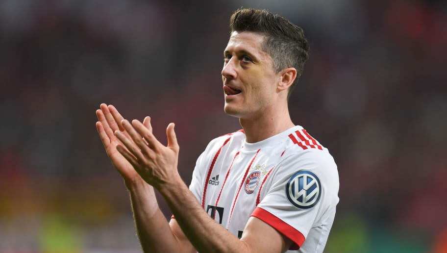 Bayern Munich's Polish forward Robert Lewandowski reacts after the German football Cup DFB Pokal semifinal match Bayer 04 Leverkusen vs Bayern Munich in Leverkusen, western Germany, on April 17, 2018. / AFP PHOTO / Patrik STOLLARZ / RESTRICTIONS: ACCORDING TO DFB RULES IMAGE SEQUENCES TO SIMULATE VIDEO IS NOT ALLOWED DURING MATCH TIME. MOBILE (MMS) USE IS NOT ALLOWED DURING AND FOR FURTHER TWO HOURS AFTER THE MATCH. == RESTRICTED TO EDITORIAL USE == FOR MORE INFORMATION CONTACT DFB DIRECTLY AT +49 69 67880   /         (Photo credit should read PATRIK STOLLARZ/AFP/Getty Images)