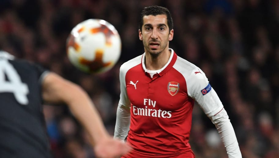 Arsenal's Armenian midfielder Henrikh Mkhitaryan watches the ball during the UEFA Europa League first leg quarter-final football match  between Arsenal and CSKA Moscow at the Emirates Stadium in London on April 5, 2018.  / AFP PHOTO / Ben STANSALL        (Photo credit should read BEN STANSALL/AFP/Getty Images)