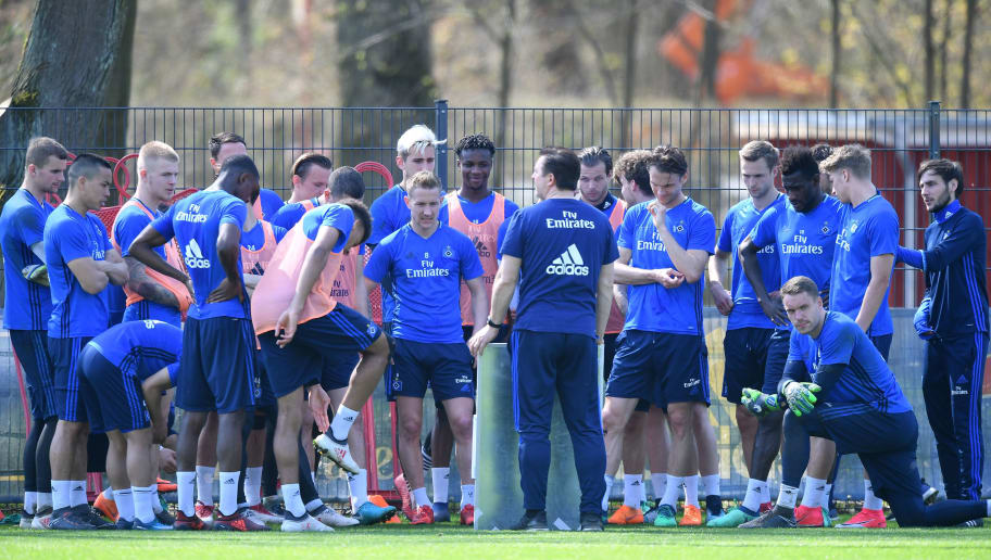HAMBURG, GERMANY - APRIL 18:  Christian Titz, head coach of Hamburg talks to the players during a training session of Hamburger SV at Volksparkstadion on April 18, 2018 in Hamburg, Germany.  (Photo by Stuart Franklin/Bongarts/Getty Images)