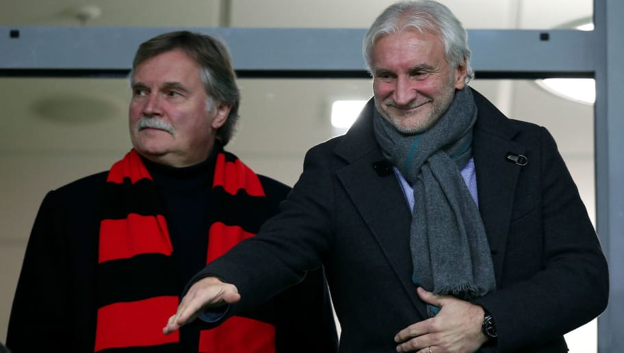 WOLFSBURG, GERMANY - OCTOBER 31:  Managing director Michael Schade (L) and sporting director Rudi Voeller (R) of Leverkusen are pictured prior to the Bundesliga match between VfL Wolfsburg and Bayer Leverkusen at Volkswagen Arena on October 31, 2015 in Wolfsburg, Germany.  (Photo by Ronny Hartmann/Bongarts/Getty Images)