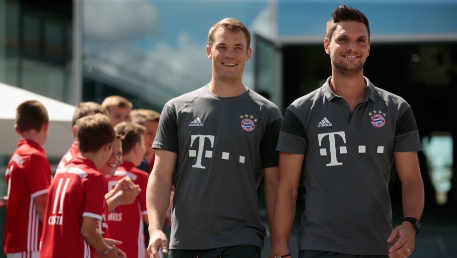 INGOLSTADT, GERMANY - AUGUST 22:  Manuel Neuer (L) and Sven Ulreich, goalkeepers of FC Bayern arrive for the Audi car handover at Audi Forum on August 22, 2016 in Ingolstadt, Germany.  (Photo by Johannes Simon/Bongarts/Getty Images)