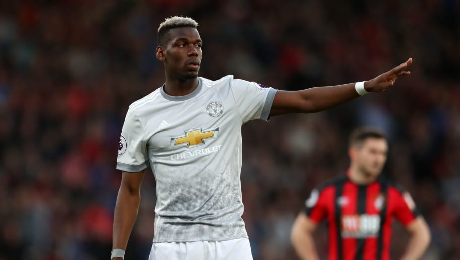 BOURNEMOUTH, ENGLAND - APRIL 18: Paul Pogba of Manchester United during the Premier League match between AFC Bournemouth and Manchester United at Vitality Stadium on April 18, 2018 in Bournemouth, England. (Photo by Catherine Ivill/Getty Images)