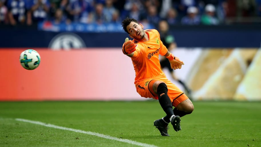 GELSENKIRCHEN, GERMANY - APRIL 15:  Yevhen Konoplyanka (not pictured) of Schalke  scores the opening goal  during the Bundesliga match between FC Schalke 04 and Borussia Dortmund at Veltins-Arena on April 15, 2018 in Gelsenkirchen, Germany.  (Photo by Alex Grimm/Bongarts/Getty Images)