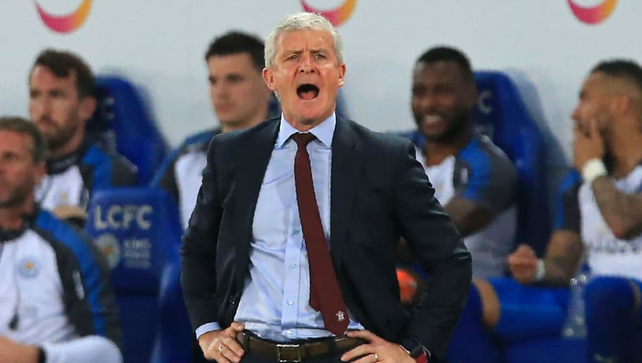 Southampton Welsh manager Mark Hughes gestures on the touchline during the English Premier League football match between Leicester City and Southampton at King Power Stadium in Leicester, central England on April 19, 2018. (Photo by Lindsey PARNABY / AFP) / RESTRICTED TO EDITORIAL USE. No use with unauthorized audio, video, data, fixture lists, club/league logos or 'live' services. Online in-match use limited to 75 images, no video emulation. No use in betting, games or single club/league/player publications. /         (Photo credit should read LINDSEY PARNABY/AFP/Getty Images)