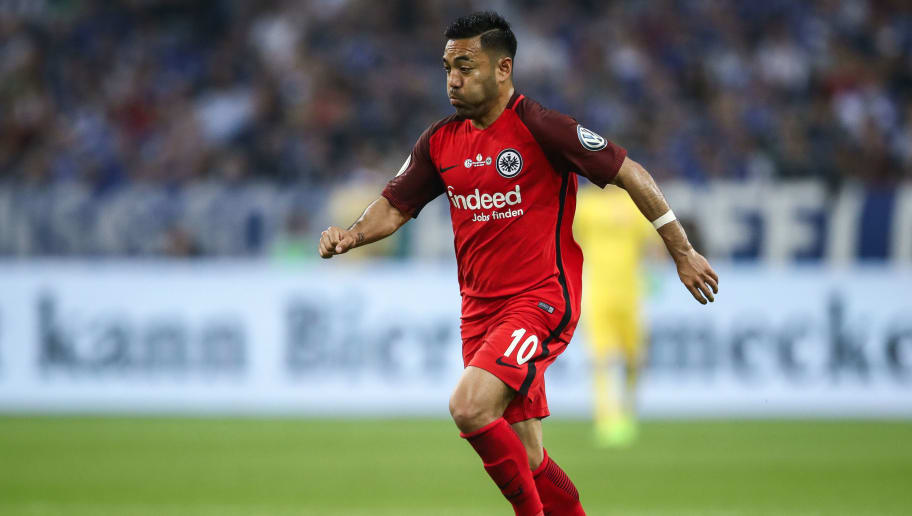 GELSENKIRCHEN, GERMANY - APRIL 18: Marco Fabian #10 of Eintracht Frankfurt controls the ball during the Bundesliga match between FC Schalke 04 and Eintracht Frankfurt at Veltins-Arena on April 18, 2018 in Gelsenkirchen, Germany. (Photo by Maja Hitij/Bongarts/Getty Images)