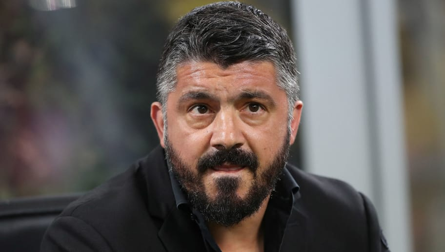 MILAN, ITALY - APRIL 08:  AC Milan coach Gennaro Gattuso looks on before the serie A match between AC Milan and US Sassuolo at Stadio Giuseppe Meazza on April 8, 2018 in Milan, Italy.  (Photo by Marco Luzzani/Getty Images)