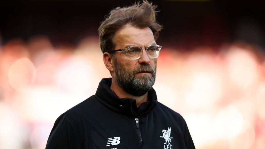 LIVERPOOL, ENGLAND - APRIL 14:  Jurgen Klopp, Manager of Liverpool looks on during the warm up prior to the Premier League match between Liverpool and AFC Bournemouth at Anfield on April 14, 2018 in Liverpool, England.  (Photo by Clive Brunskill/Getty Images)