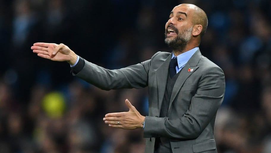 MANCHESTER, ENGLAND - NOVEMBER 01:  Josep Guardiola manager of Manchester City gives his team instructions during the UEFA Champions League Group C match between Manchester City FC and FC Barcelona at Etihad Stadium on November 1, 2016 in Manchester, England.  (Photo by Shaun Botterill/Getty Images)